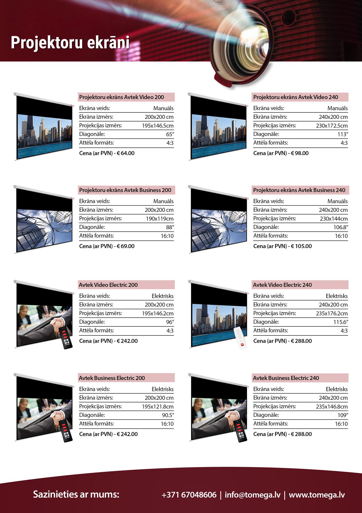 Projektoru un projektoru ekrānu akcija