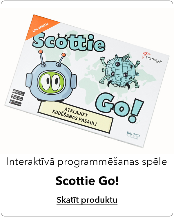 Interaktīvā programmēšanas spēle Scottie Go